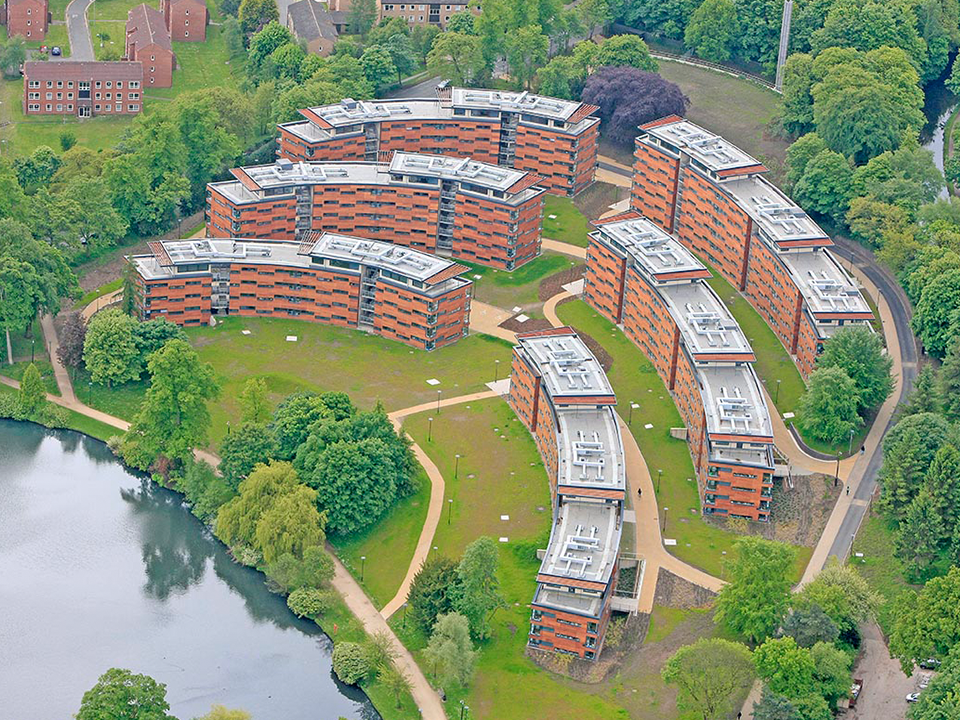 Aerial view of Mason Hall - University of Birmingham